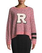 "Halstead Crewneck Marled Knit Sweatshirt with ""R"" Varsity Patch"
