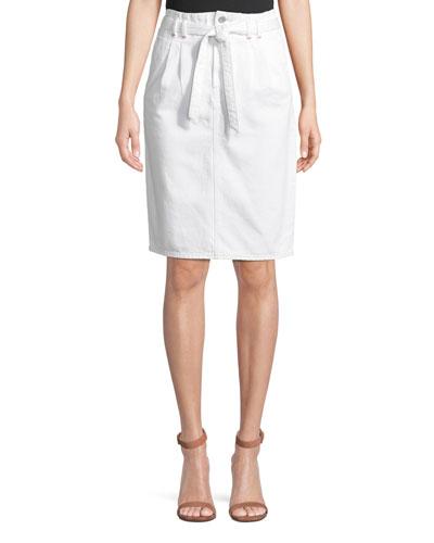 Tie-Waist Straight Knee-Length Denim Skirt
