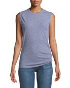Crewneck Sleeveless Striped Linen-Cotton Jersey Muscle Top