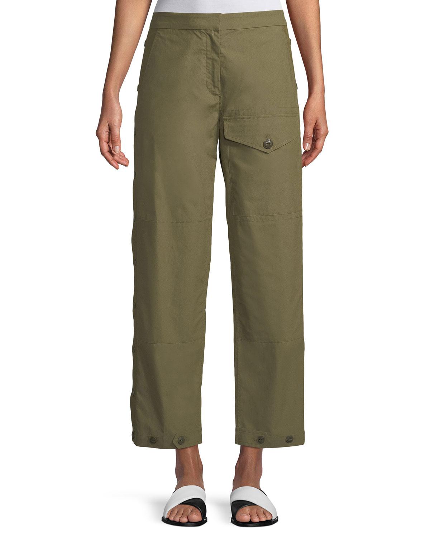 Marion Snap-Side Straight-Leg Pants