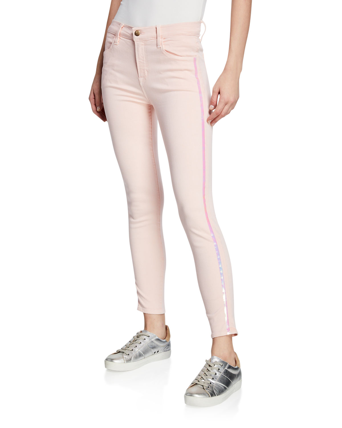 Alana High-Rise Cropped Super Skinny Jeans W/ Ladder Lace, White, White Ladder Lace