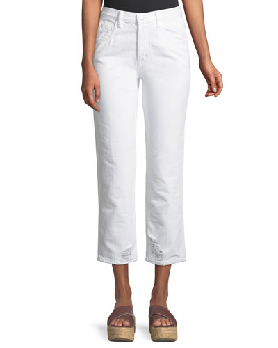 Wynne High-Rise Crop Straight-Leg Jeans, White Destruct