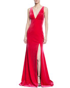Plunging Velvet Sleeveless Trumpet Gown