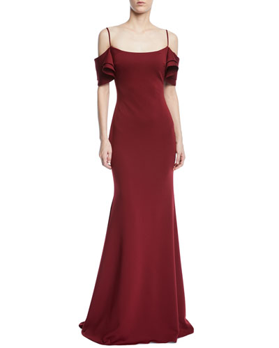 Trumpet Gown w/ V-Back Ruffle Overlay