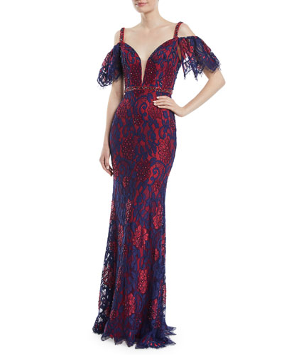 Cold-Shoulder Open-Back Lace Dress