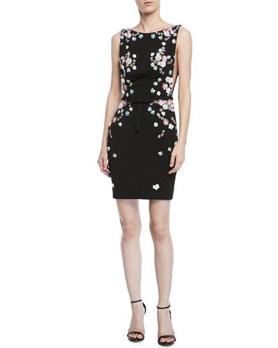 Embellished V-Back Sleeveless Cocktail Dress