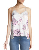 The Racer Silk Charmeuse Floral-Print Camisole