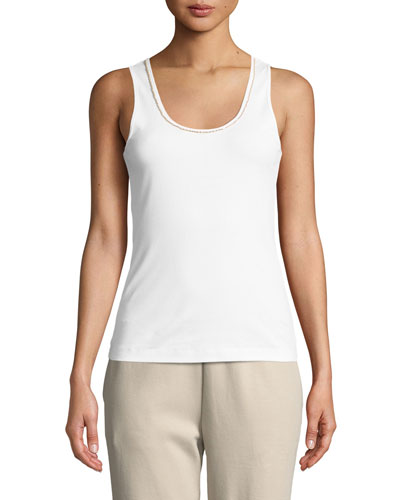 Plus Size Golden-Chain Sleeveless Cotton Tank Top