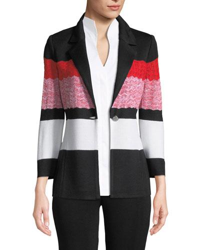 Block-Striped One-Button Jacket, Petite