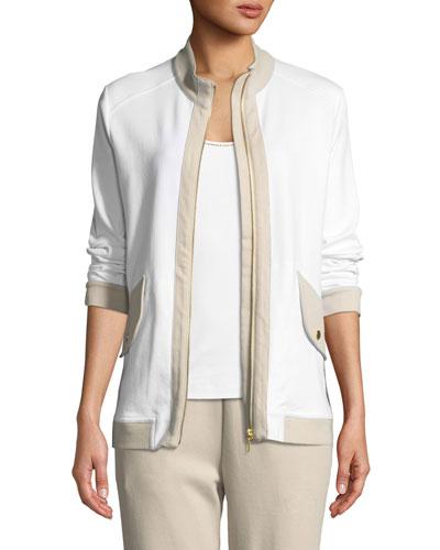 Petite Contrast-Trim Zip-Front Pique Jacket