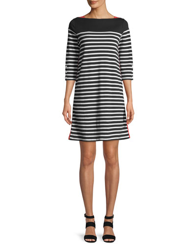 Petite Colorblock Striped 3/4-Sleeve Dress