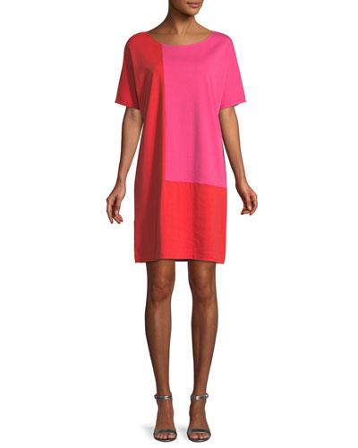 Petite Short-Sleeve Colorblock Dress