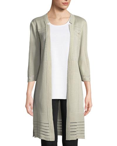 Petite 3/4-Sleeve Notched-Lapel Topper Jacket