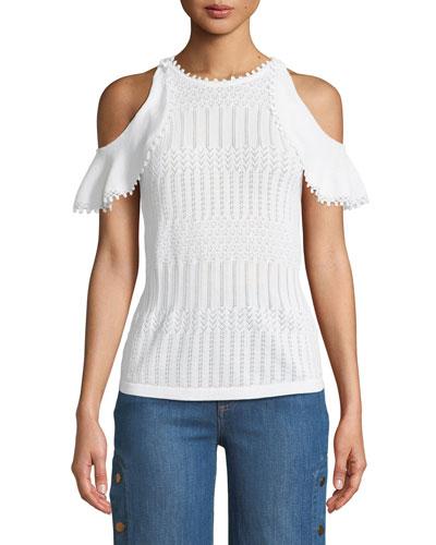 Lacy Crochet Cold-Shoulder Top