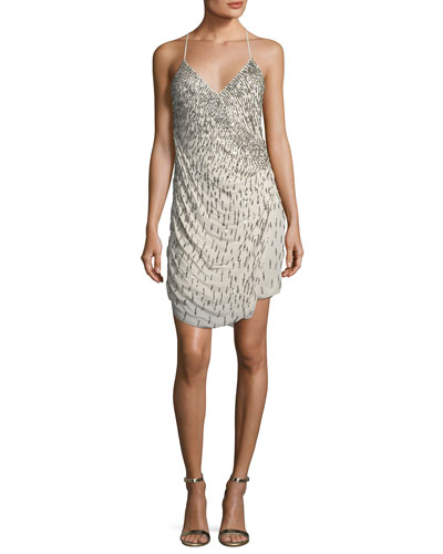 Criminal Love Beaded Wrap Cocktail Dress