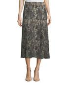 Solo Printed Silk Midi Skirt