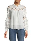 Pinwheel Eyelet Long-Sleeve Top