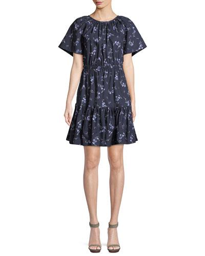 Francine Floral-Print Cotton Dress with Cutout Back