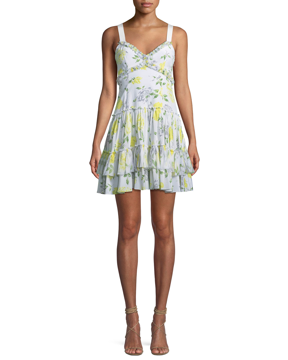Livia Floral-Print Ruffle Mini Dress, Yellow Pattern