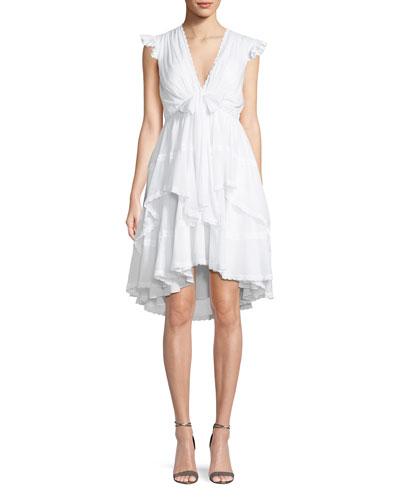 Jourdana Cotton Lace-Trim Dress
