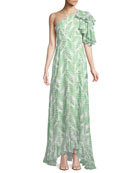 Danielle One-Shoulder Silk Maxi Dress