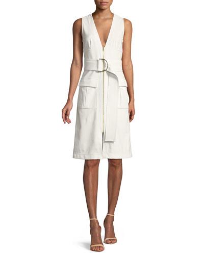 Sleeveless Zip-Front Knee-Length Dress