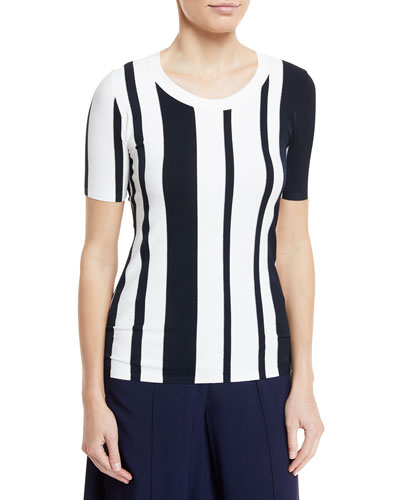 Striped Scoop-Neck Pullover Top