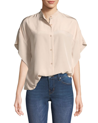 Short-Sleeve Silk Button-Down Top