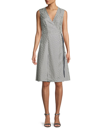 Sleeveless Silk Side-Tie Flare Dress