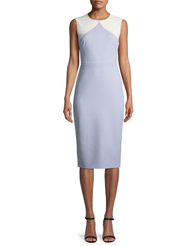 Colorblock Sleeveless Body-Con Midi Sheath Dress
