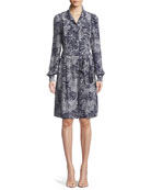 Printed Button-Up Long-Sleeve Silk Romper