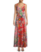 Bias-Cut Paneled Silk Maxi Dress