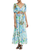 Baia Printed Tie-Front Maxi Dress