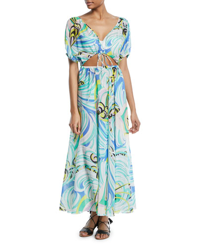 Baia Printed Tie-Front Maxi Dress