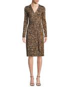 Cybil Banded Leopard-Print Silk Jersey Wrap Dress