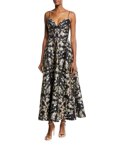 Floral-Print Sleeveless Cocktail Dress w/ Pockets