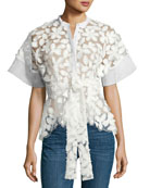 Danelle Floral-Embroidered Short-Sleeve Top