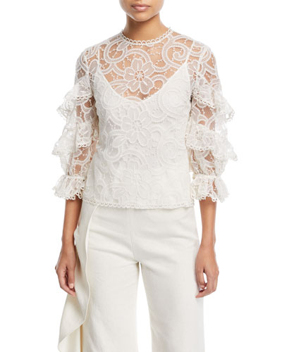 Ariell 3/4-Sleeve Lace Top