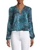 Allesandra Printed Silk Lace-Up Blouse