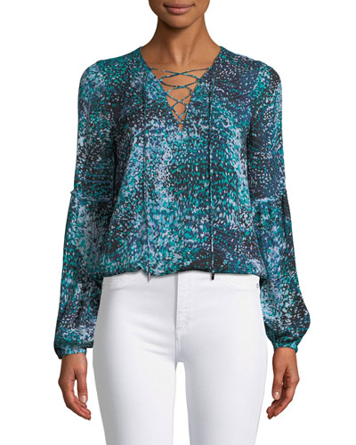 Allesandra Printed Silk Lace-Up Blouse
