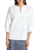 Juliette 3/4-Sleeve Italian Stretch Cotton Blouse
