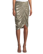 Silver Screen Ruched Sequin Skirt