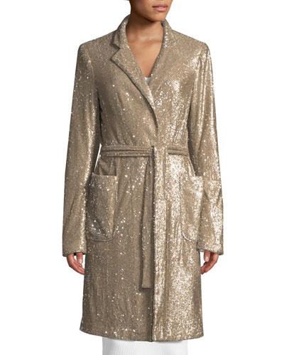 Close Up Long-Sleeve Sequin Coat