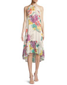 Rosales Splendor in the Garden Sleeveless Silk Dress