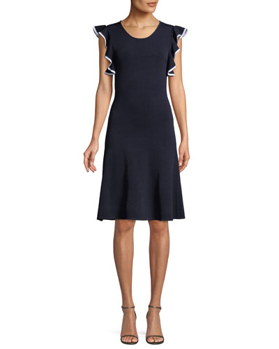 Saya Knit Scoop-Neck Dress w/ Ruffle Trim
