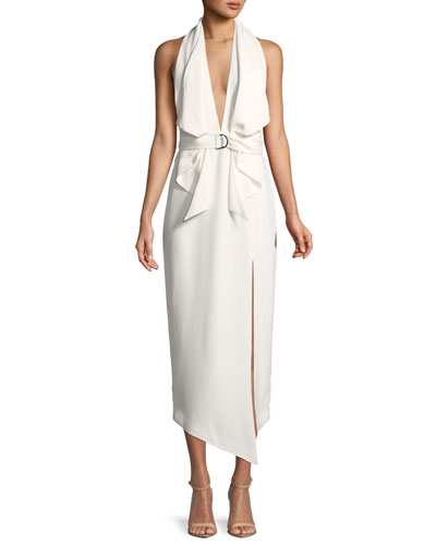 Carrie Belted Halter Dress