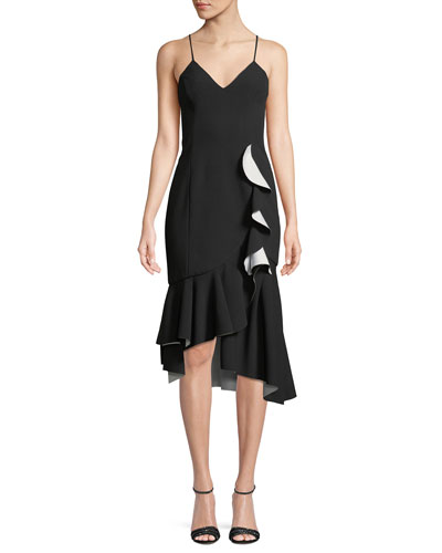 Kiki Bonded Ruffle Cocktail Dress