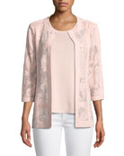 Tonal Floral Embroidered Jacket, Pus Size