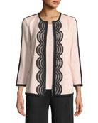 Contrast Lace-Trim Zip-Front Jacket