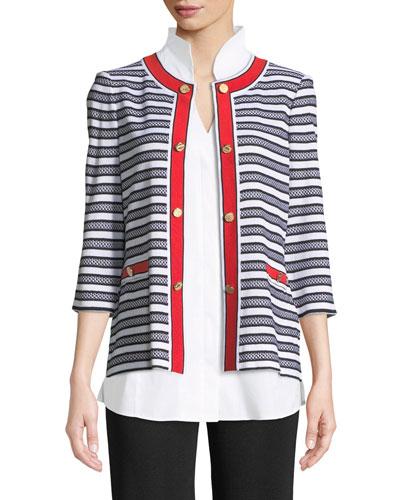 Button-Detail Striped Jacket, Plus Size